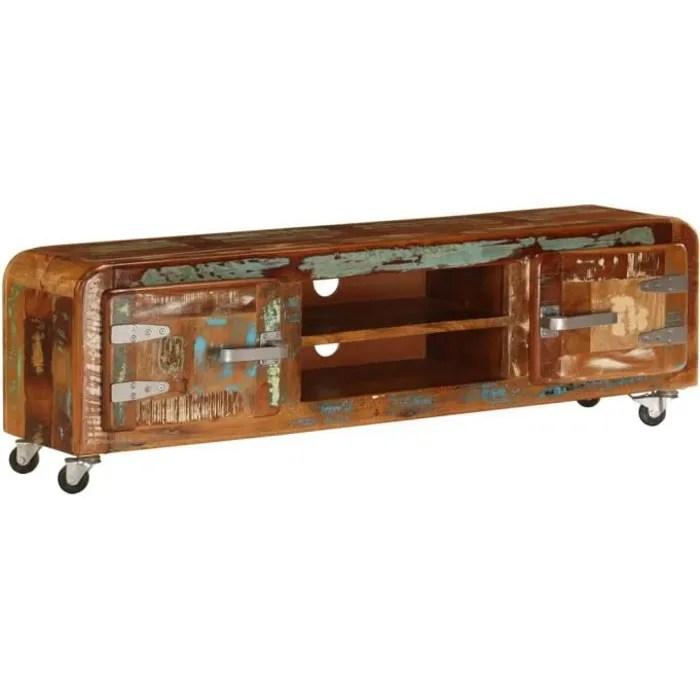 meuble tv style industriel avec 4 roulettes