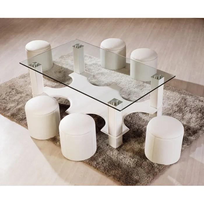 table basse avec 6 poufs galo en