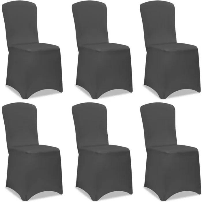 lot de 6 housses de chaise pour fete anthracite