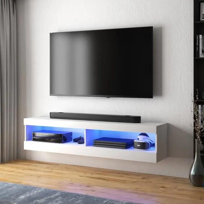 meuble tv meuble de salon viansola 100 cm blanc mat blanc brillant eclairage led style moderne