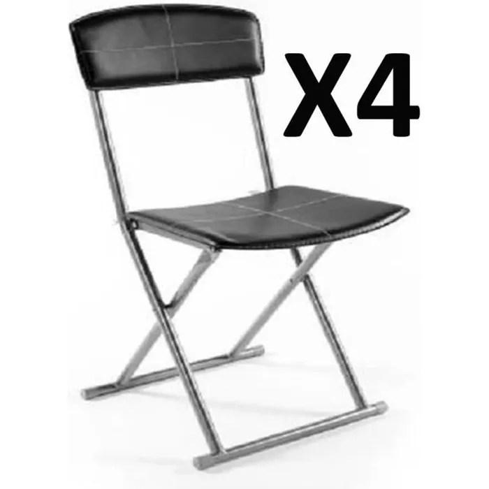 lot de 4 chaises pliantes pvc simil cuir en noir