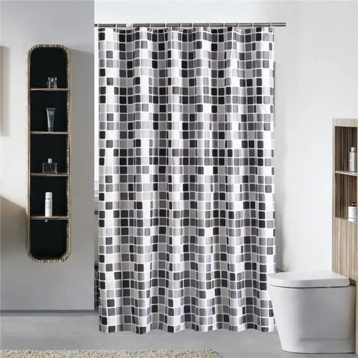noir blanc gris treillis baignoire rideau de d
