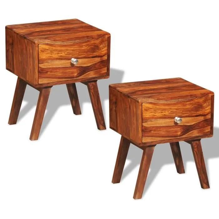 p42 2 tables de chevet vintage en bois de sheesham