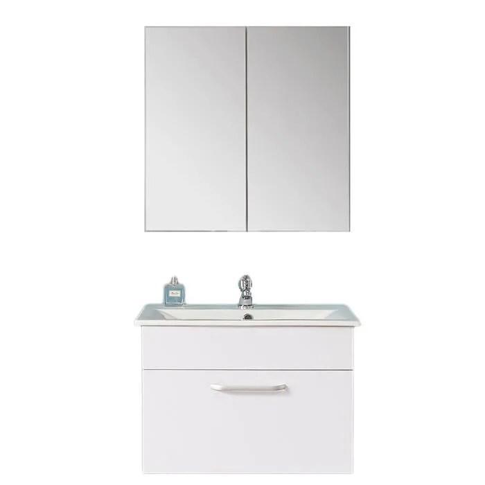 aica ensemble meuble de salle de bain meuble haut meuble sous vasque avec vasque armoire a pharmacie avec miroir marron fonce
