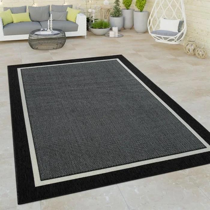 tapis a poils ras interieur exterieur aspect 3d bordure uni look naturel en noir 80x150 cm