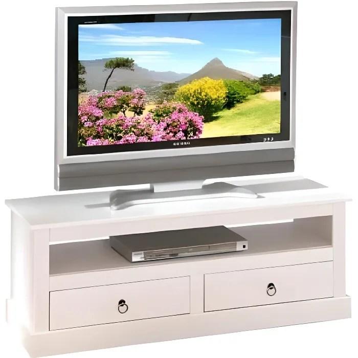 meuble tv blanc avec tiroirs nala matiere bois