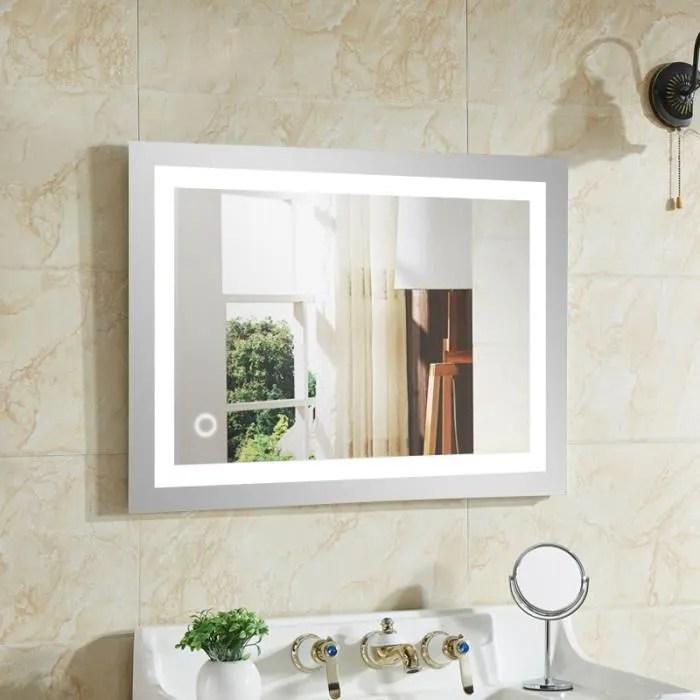 Miroir Salle Bain Avec Eclairage Integre Led 50 70cm Achat Vente Miroir Salle De Bain Soldes Sur Cdiscount Des Le 20 Janvier Cdiscount