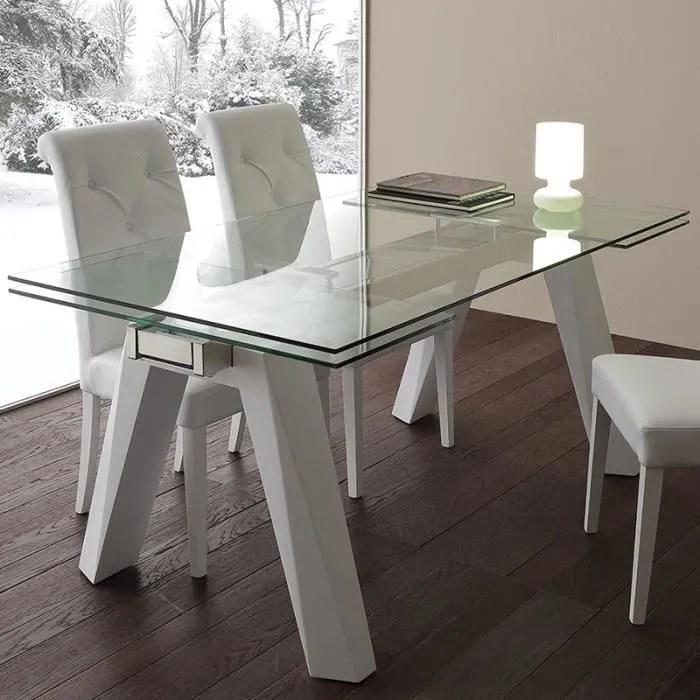 table a manger extensible en verre et acier design