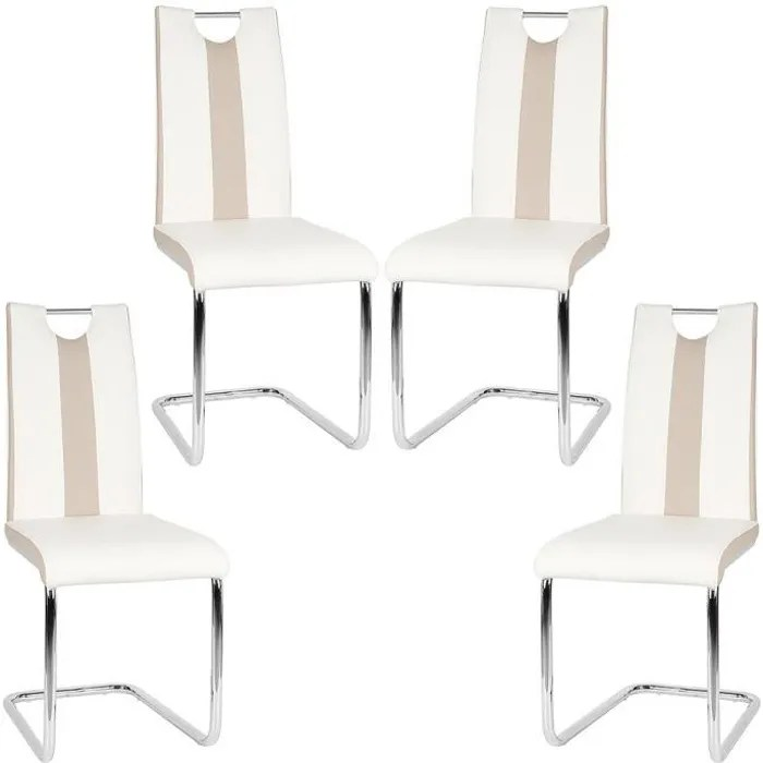 wiss lot de 4 chaises blanches pour salle a manger hauteur 49 cm