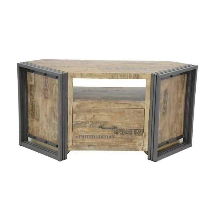 industriel meuble tv d angle 1 tiroir