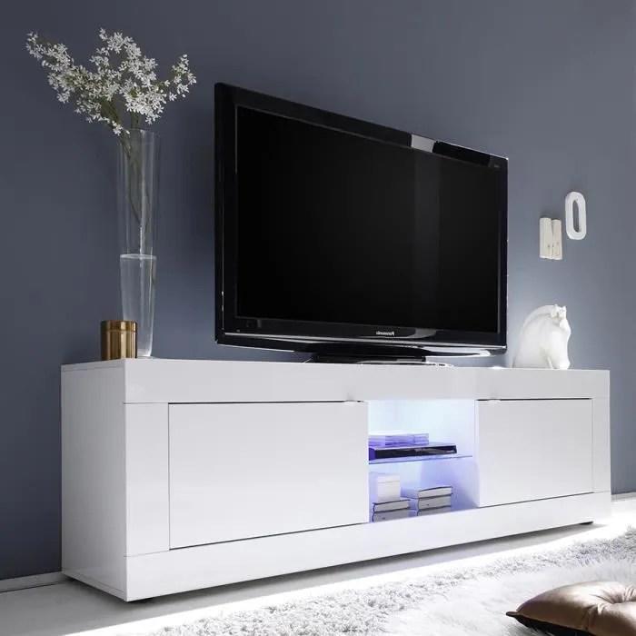 meuble tv 180 cm blanc laque design focia 2 avec