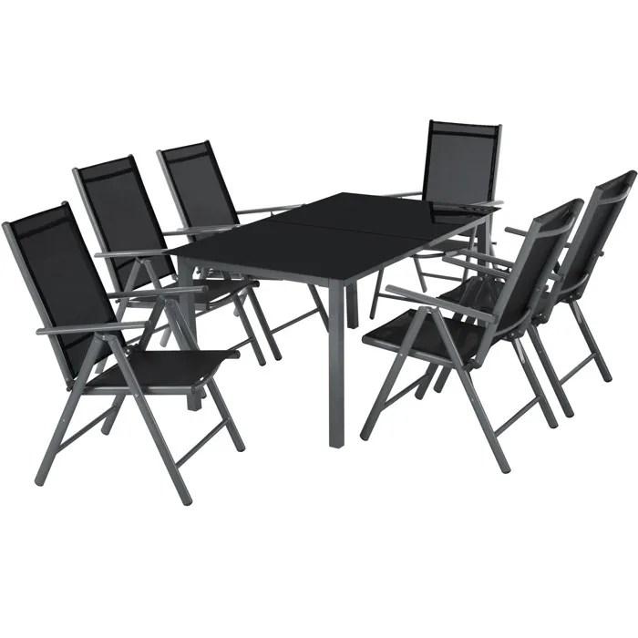 tectake salon de jardin avec 6 chaises pliantes et 1 table en verre et en aluminium gris noir