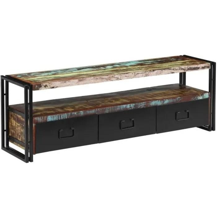 meuble tv industriel avec 3 tiroirs et 1 etagere