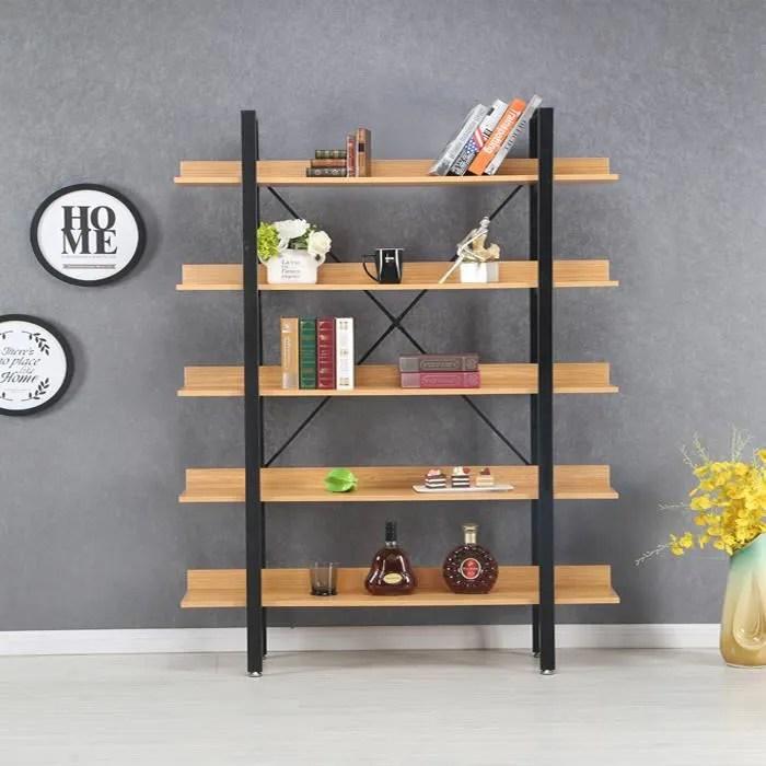 etageres style industriel en bois clair 170cm kalix designetsamaison