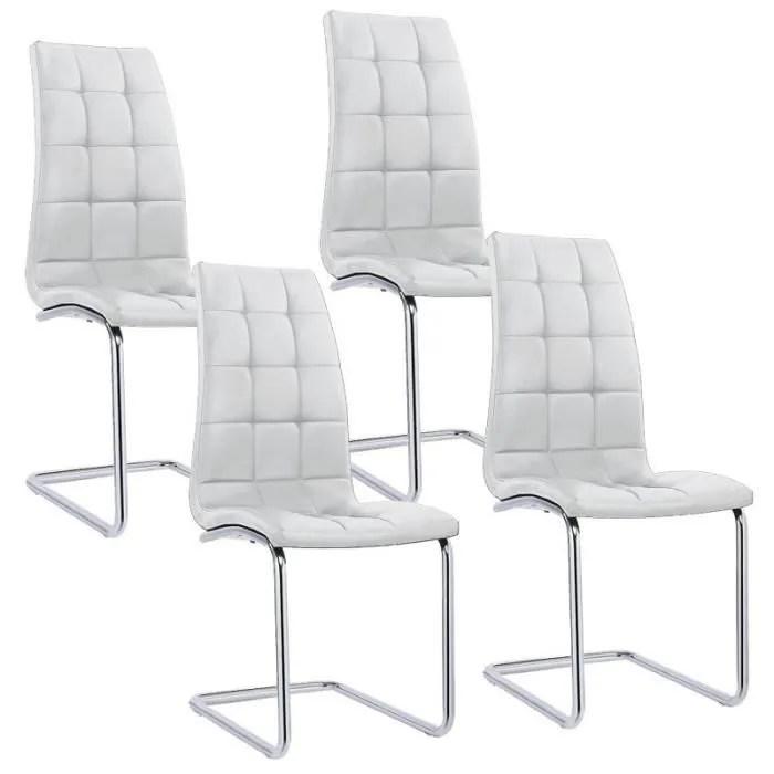 lot de 4 chaises blanches design