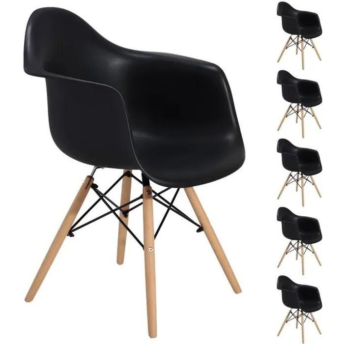 jeobest lot de 6 chaises scandinave avec accoudoirs noir