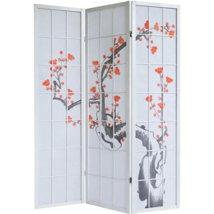paravent 3 panneaux japonais en bois blanc 132x175