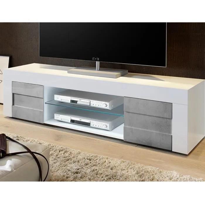 meuble tv blanc laque brillant et effet beton broo