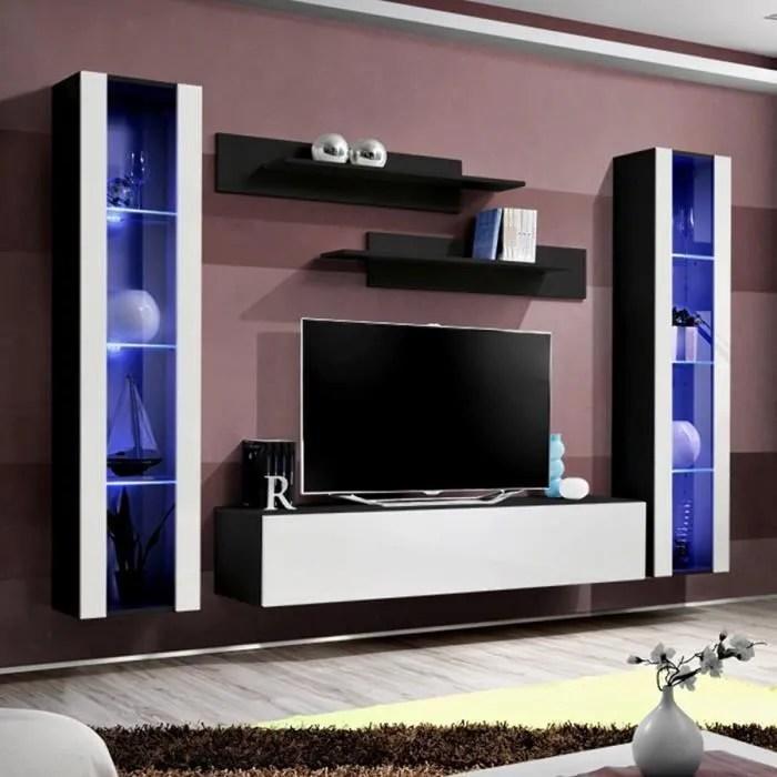 meuble tv complet noir et blanc janina noir l 260