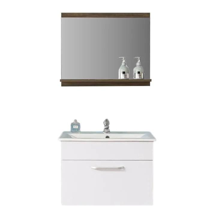 aica ensemble meuble salle de bain miroir mural meuble sous vasque avec vasque brun noix miroir salle de bain serie marron