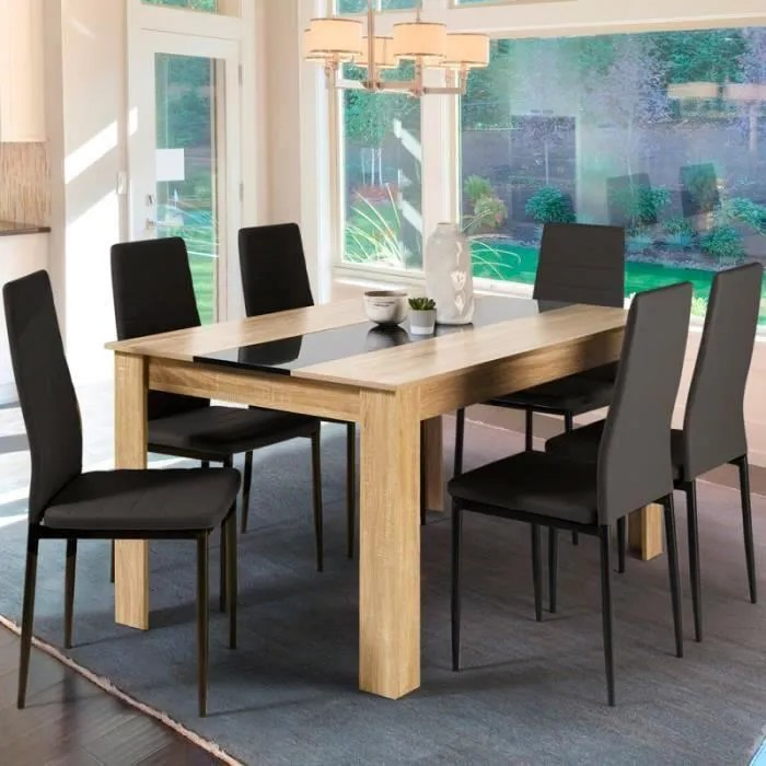 table a manger de 6 personnes imitation hetre et noire