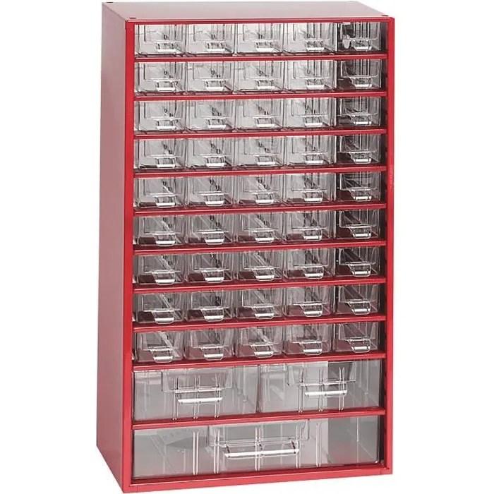 casier de rangement pour vis bloc tiroirs hxlxp 551 x 306 x 155 mm 48 compartiments rouge carmin certeo bloc tiroirs