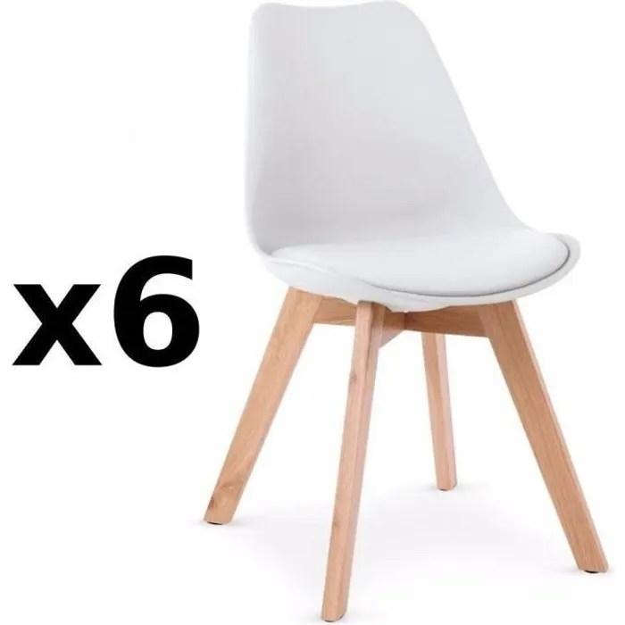 lot de 6 chaises oslo design scandinave pietement en hetre