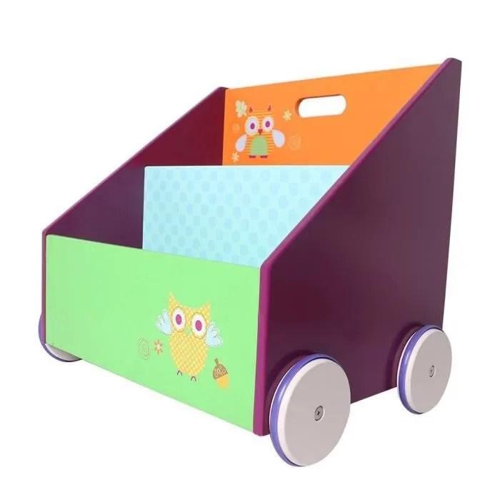 labebe coffre a jouets bibliotheque en bois meuble de rangement enfant en roulette