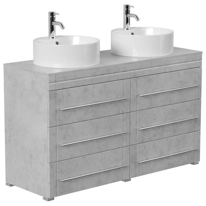 Meuble Double Vasque Memoria Moderne Aspect Beton A Poser Achat Vente Meuble Vasque Plan Meuble Double Vasque Memoria Soldes Sur Cdiscount Des Le 20 Janvier Cdiscount