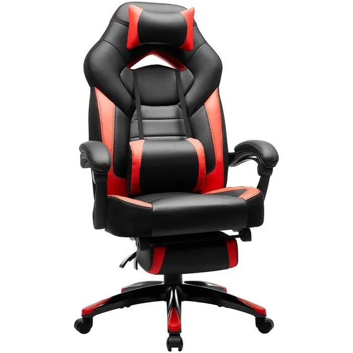 songmics fauteuil gamer ergonomique chaise de bureau inclianble coussin tetiere lombaire repose pieds hauteur reglable obg77br