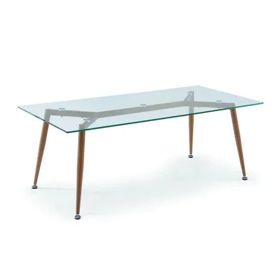 table basse en verre pieds en bois style scandinave