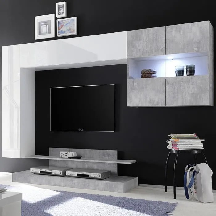 meuble tv suspendu led design blanc laque et gris