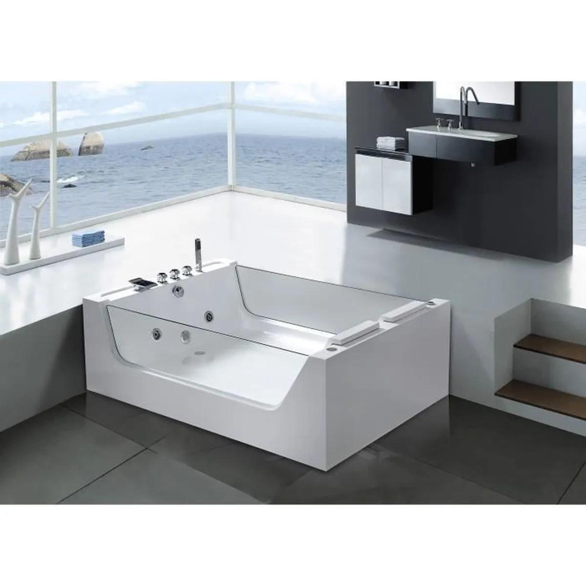 baignoire balneo 2 verre panoramique 170 x 120 cm spa massante blanc iris