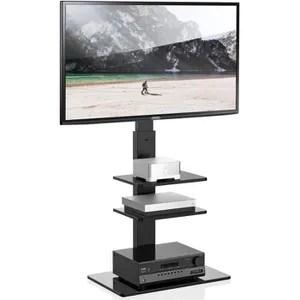 support tv meuble metal avec etagere 65 pouces