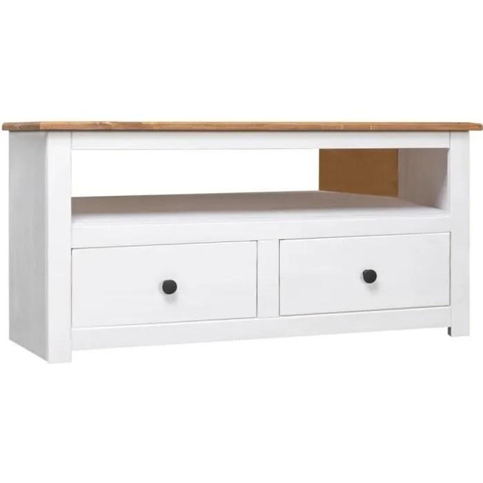 vidaxl meuble tv d angle blanc 93x49x49 cm pin ass