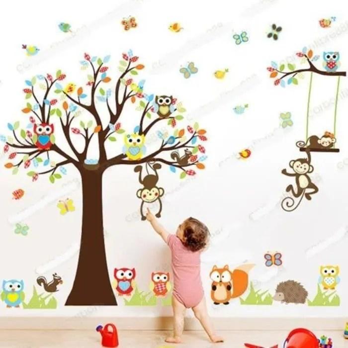 sticker mural animal hibou singe arbre deco decal pepiniere chambre d enfant