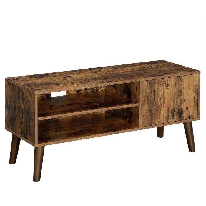 vasagle meuble tv rustique avec rangement 110 x 40