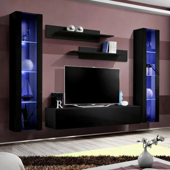 meuble tv avec rangement noir janina noir l 260 x p 40 x h 190 cm