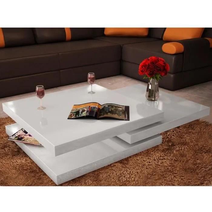 table basse salon 3 etageres blanc brillant avec deux niveaux extensibles