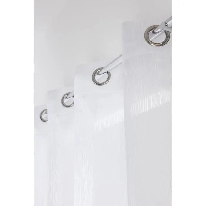 rideau voilage grande hauteur 140 x 280 cm a oeillets motif lignes verticales blanc effet devore