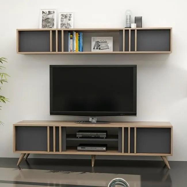 homemania meuble tv bren moderne avec portes et