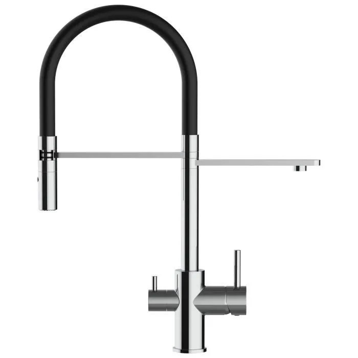 mitigeur 3 voies robinet cuisine noir avec douchette eau chaude eau froide et bec independant pour l eau filtree