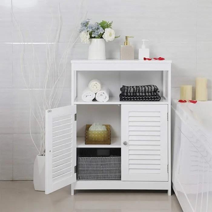 armoire de salle de bain meuble de rangement pour chambre commode de haute qualite avec etagere claire voie et 2 portes