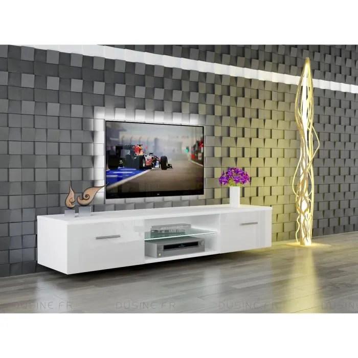meuble tv suspendu giuliano blanc laque
