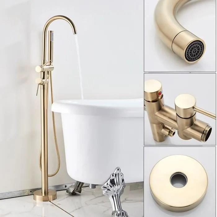 robinet de baignoire au sol dore brosse robinet de