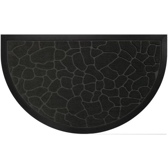 tapis d entree 45x75cm demi lune galets noir