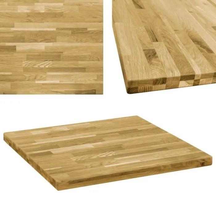 dessus de table carre plateau de table 44 mm 70x70 cm bois de chene massif