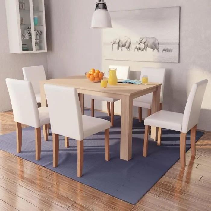 ensemble table et chaises de salle a manger 1 table et 6 chaises l140x44 cm cuir synthetique marron et creme