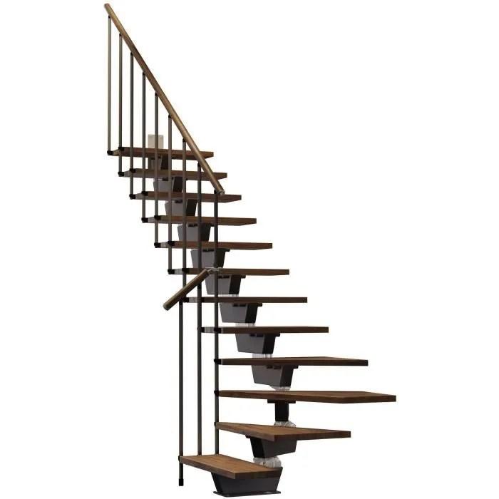 escalier quart tournant 12 marches structure metal et marches en bois massif noyer knock misterstep