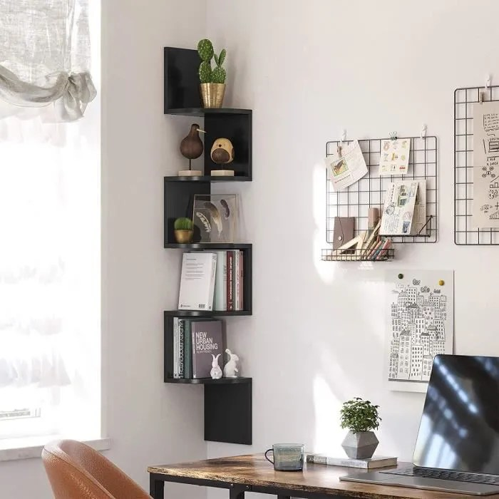 etagere d angle bibliotheque murale meuble de rangement suspendu en bois 20 20 123cm noire